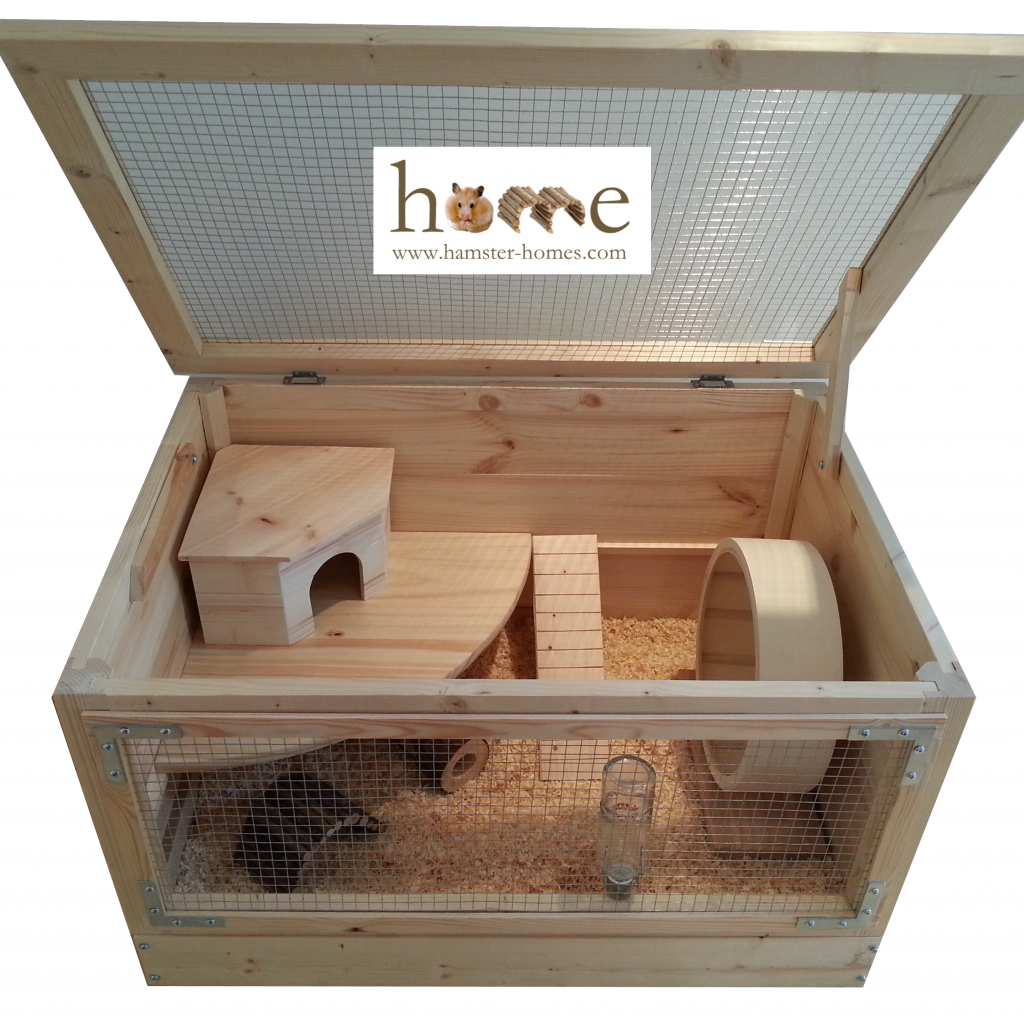 ... Homes / Hamster Homes / Large 75cm x 50cm Natural Wooden Hamster Cage