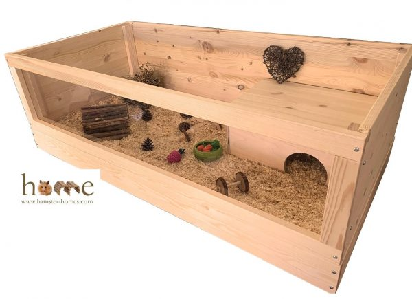 120x60cm Open Top Guinea Pig Home with Perspex Front - Side view